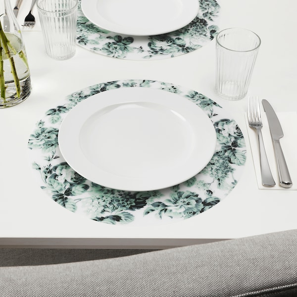 SMAKSINNE podmetač za stol bijela/zelena/cvijet 37 cm