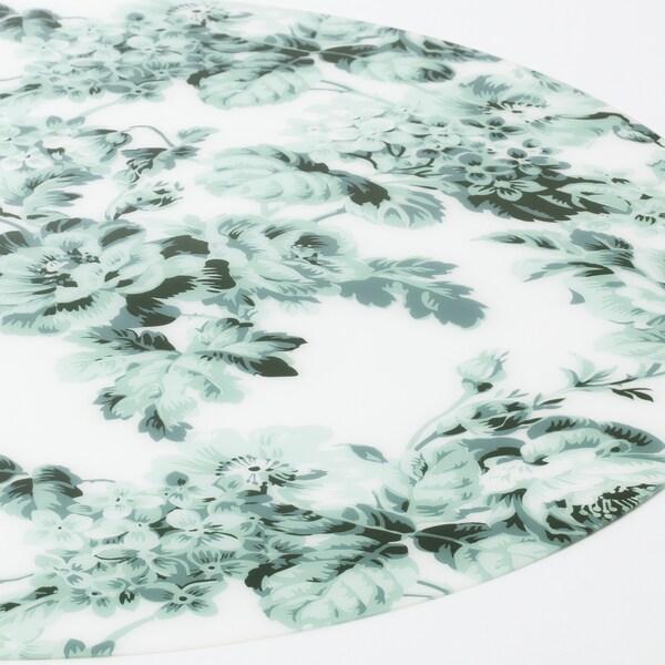 SMAKSINNE Podmetač za stol, bijela/zelena/cvijet, 37 cm