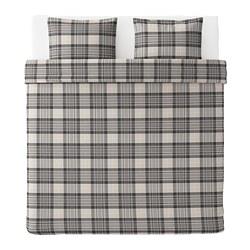 SMALRUTA navlaka i 2 jastučnice, 240x220/50x60 cm, siva/karo