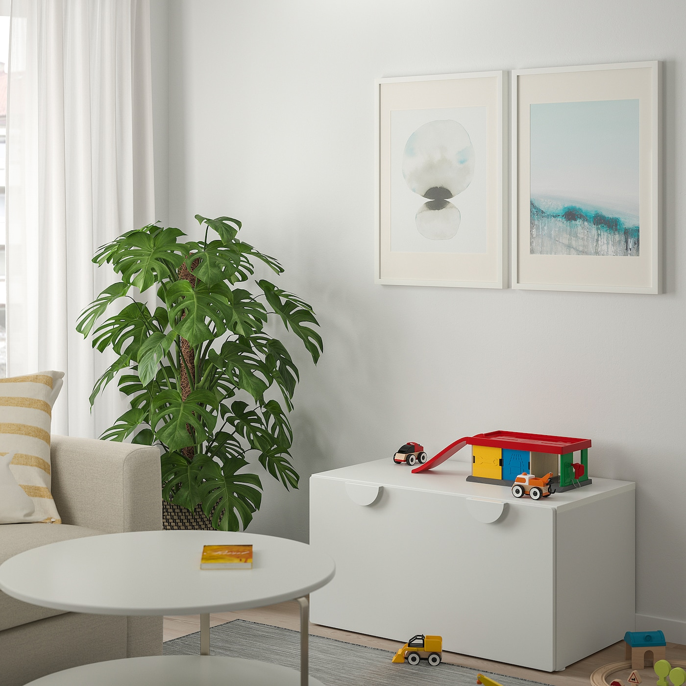 SMÅSTAD Klupa sa sandukom za igračke, bijela/bijela, 90x52x48 cm