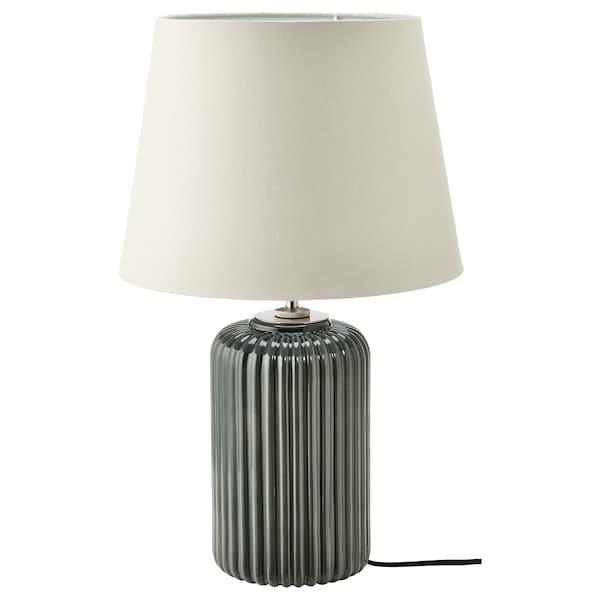 SNÖBYAR Stolna lampa, sivo-tirkizna keramička/siva, 52 cm