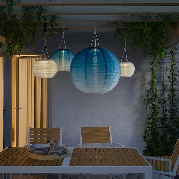 SOLVINDEN LED solarna visilica, na otvorenom/kugla plavi ton, 45 cm