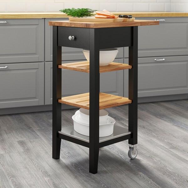 STENSTORP Kuhinjska kolica, crno-smeđa/hrast, 45x43x90 cm