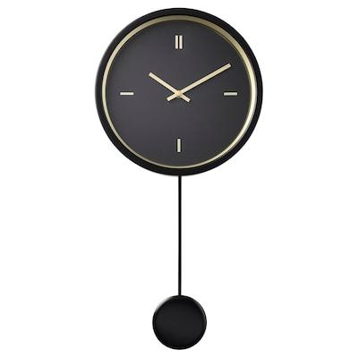STURSK Zidni sat, crna, 26 cm