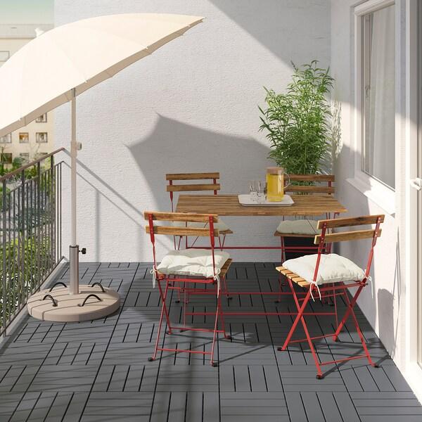 TÄRNÖ Stol i 4 stolice, vanjski, crvena/svijetlosmeđi bajc