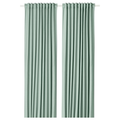TIBAST Zavjese, 1 par, zelena, 145x300 cm