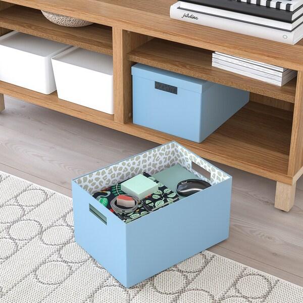 TJENA Kutija za odlaganje s poklopcem, plava, 25x35x20 cm