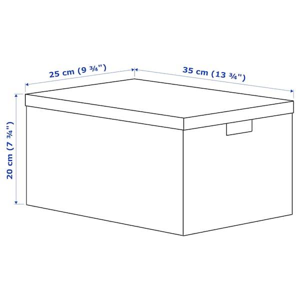 TJENA Kutija za odlaganje s poklopcem, siva višebojno/papir, 25x35x20 cm