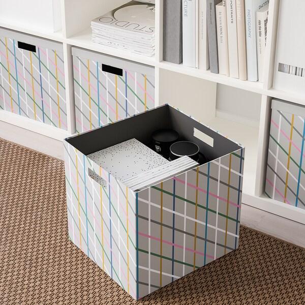 TJENA Kutija za odlaganje s poklopcem, siva višebojno/papir, 32x35x32 cm