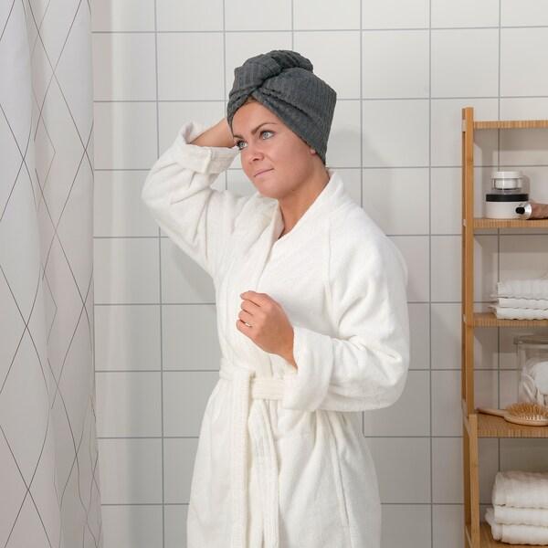 TRÄTTEN Ručnik za kosu, tamnosiva/bijela