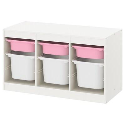 TROFAST Komb/odlaganje+kutije, bijela roza/bijela, 99x44x56 cm