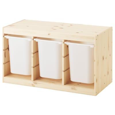 TROFAST Komb/odlaganje+kutije, svijetlobijelo bajcani bor/bijela, 94x44x52 cm
