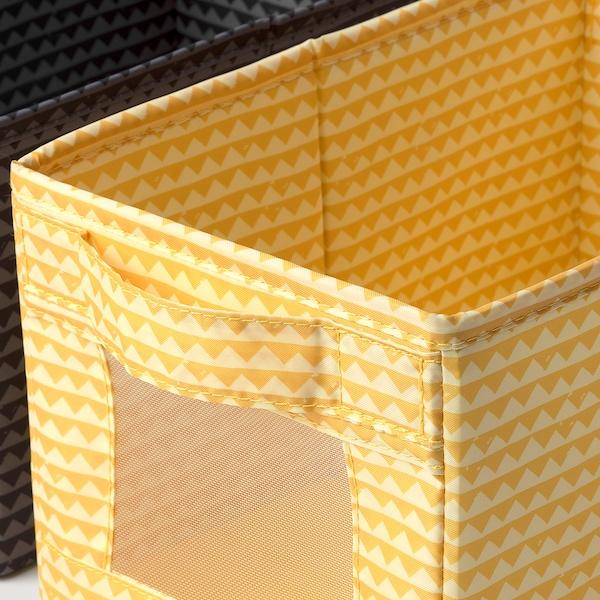 UPPRYMD Kutija, crna žuta/tirkizna, 18x27x17 cm