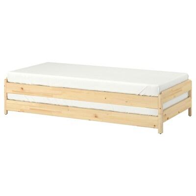 UTÅKER Složivi krevet s 2 madraca, bor/Husvika tvrdi, 80x200 cm