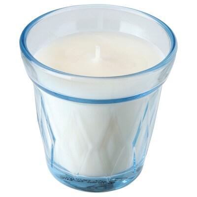 VÄLDOFT Mirisna svijeća u čaši, svježe rublje/svijetloplava, 8 cm