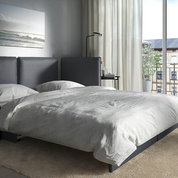 VALLENTUNA Modul četverosjed s 3 sofe na razvl, i odlaganje/Hillared/Murum tamnosiva/crna