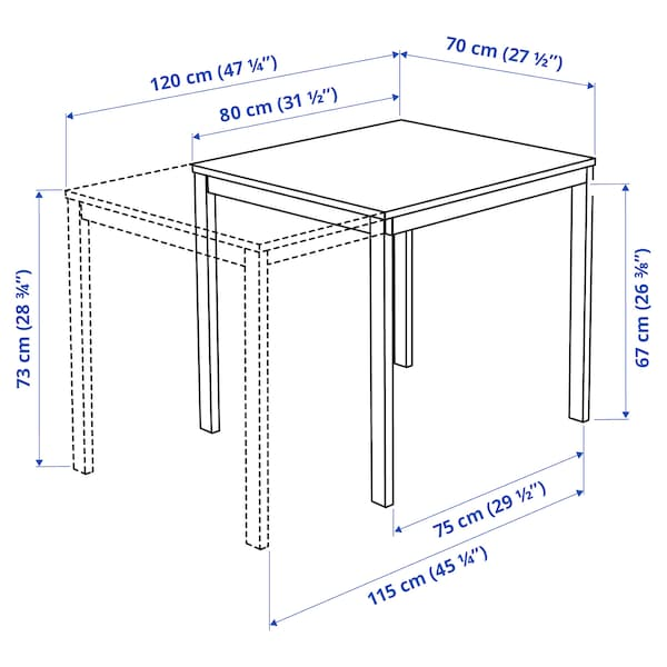 VANGSTA Produljivi stol, bijela, 80/120x70 cm