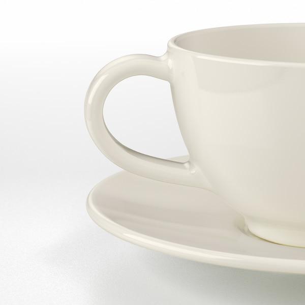 VARDAGEN Šalica za čaj+tanjurić, krem, 26 cl