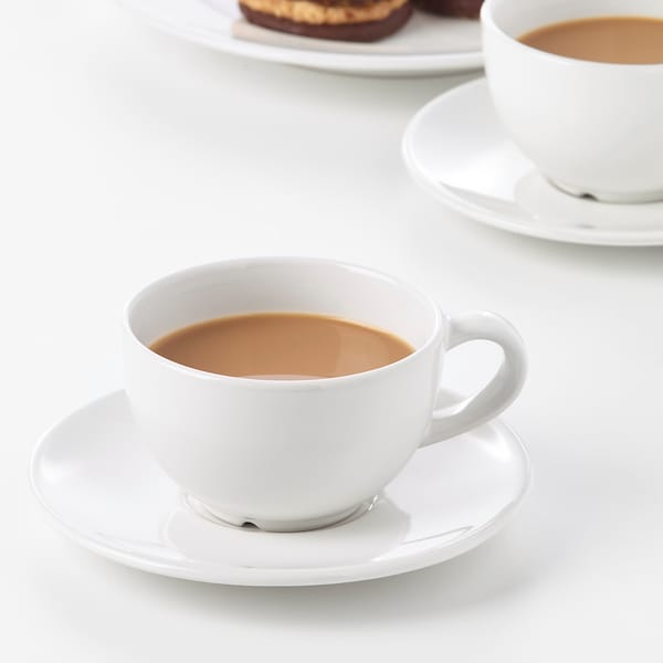 VARDAGEN Šalica za kavu+tanjurić, krem, 14 cl