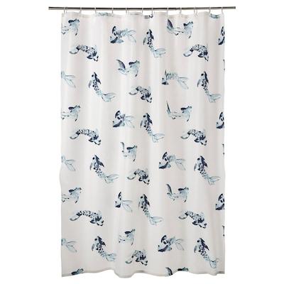 VATTENSJÖN Zavjesa za tuš, bijela plava/riba, 180x200 cm