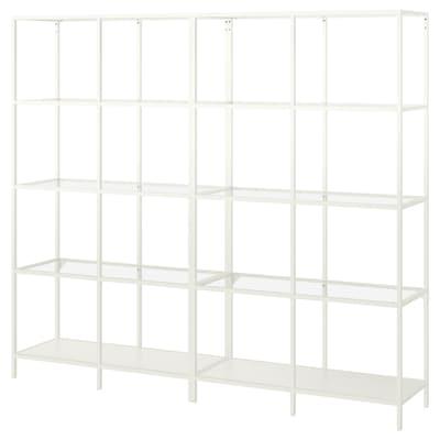 VITTSJÖ Komb/odlaganje, bijela/staklo, 200x36x175 cm