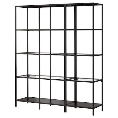 VITTSJÖ Kombinacija za odlaganje, crno-smeđa/staklo, 151x36x175 cm