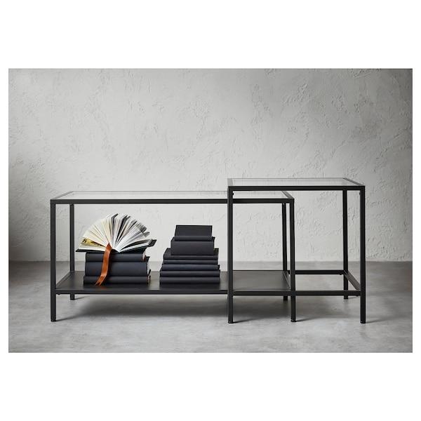 VITTSJÖ komplet stolića, 2 kom crno-smeđa/staklo 90 cm 50 cm 50 cm