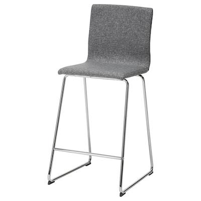 VOLFGANG Barski stolac s naslonom, kromirano/Gunnared srednje siva, 67 cm