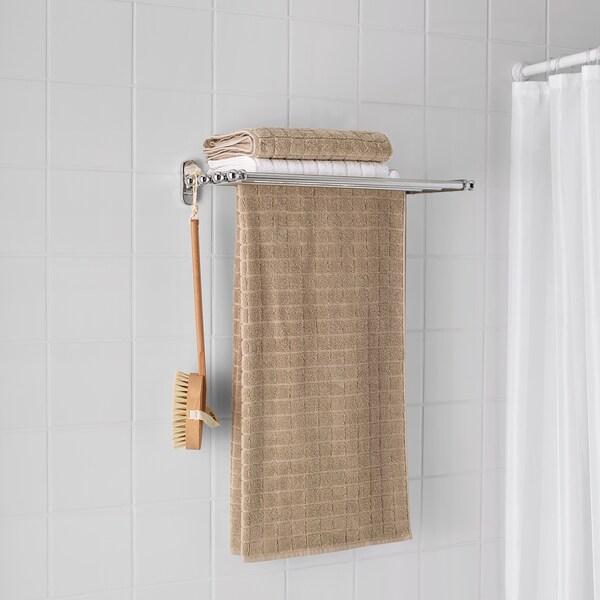 VOXNAN Zidna polica+šipka za ručnik, efekt kroma, 48x28 cm