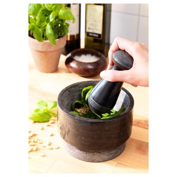 ÄDELSTEN mozsártörő és mozsár márvány fekete 10 cm 14 cm