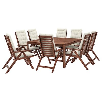 ÄPPLARÖ Asztal+8 áll szék, kültéri, barna pácolt/Kuddarna bézs