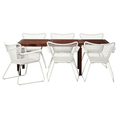 ÄPPLARÖ / HÖGSTEN asztal+6 karfás szék, kültéri barna pácolt/fehér