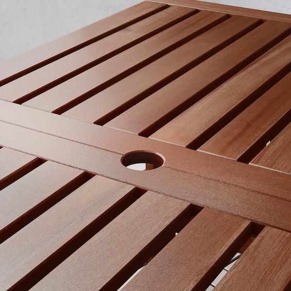 IKEA ÄPPLARÖ Asztal+2 karfás szék+pad, kültéri