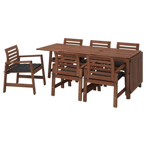 IKEA ÄPPLARÖ Asztal+6 karfás szék, kültéri