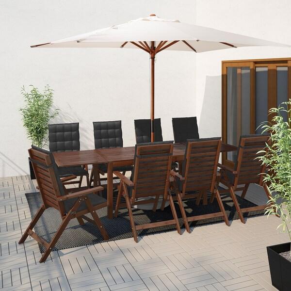 IKEA ÄPPLARÖ Asztal+8 áll szék, kültéri