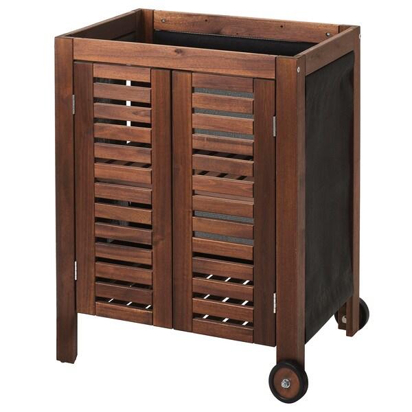 ÄPPLARÖ Tároló szekrény, kültéri, barna pácolt, 77x58 cm