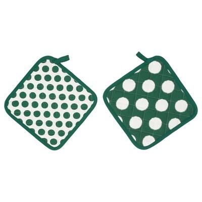ALVALISA edényfogó zöld/fehér 23 cm 23 cm 2 darabos