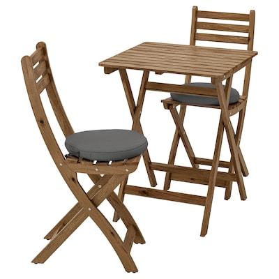 ASKHOLMEN Asztal+2 összecsukh szék, kültéri, szürke-barna pácolt/Frösön/Duvholmen sszürke