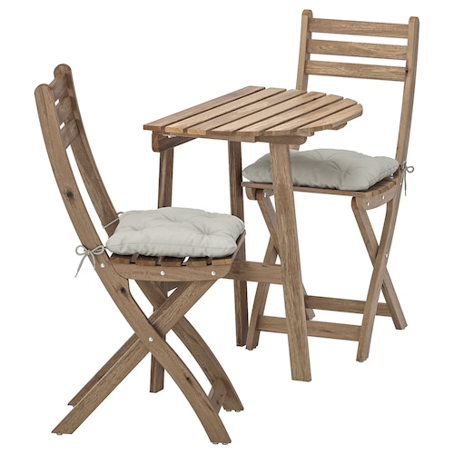 ASKHOLMEN balkonaszt+2 összecs.szék, kültér szürke-barna pácolt/Kuddarna szürke
