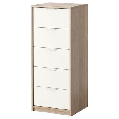 ASKVOLL 5-fiókos szekrény fehérre pácolt tölgy hatás/fehér 45 cm 41 cm 109 cm 37 cm 33 cm 4 kg