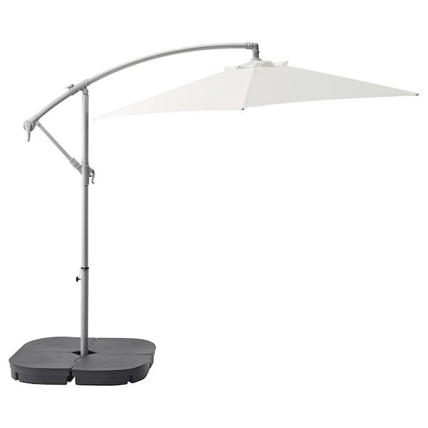 BAGGÖN / SVARTÖ Függő napernyő talppal, fehér/sszürke