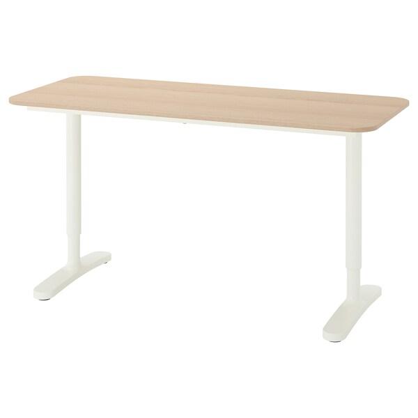 BEKANT Íróasztal, fehérre pácolt tölgy furnér/fehér, 140x60 cm