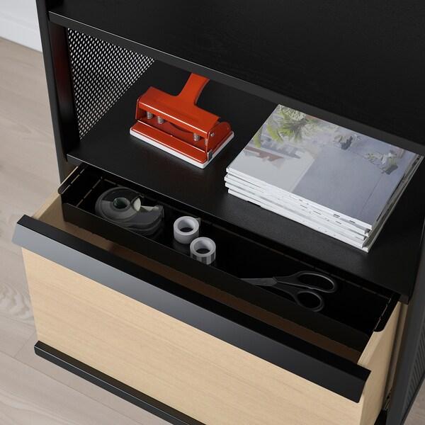 BEKANT Tárolóelem lábakkal, háló fekete, 61x101 cm