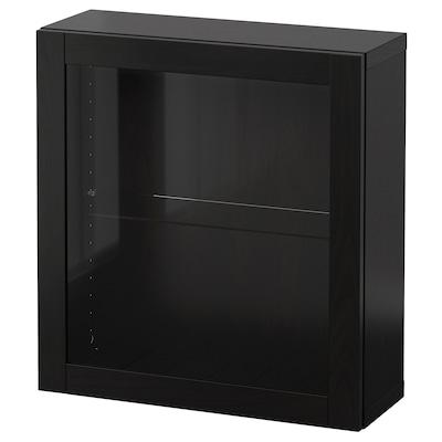 BESTÅ Falra szerelhető szekrénykombináció, fekete-barna/Sindvik fekete-barna üveg, 60x22x64 cm