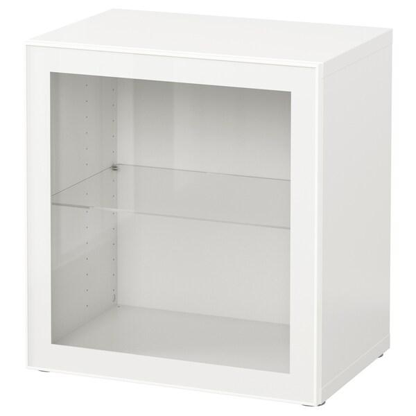BESTÅ Polcos elem+üvegajtó, fehér/Glassvik fehér/átlátszó üveg, 60x42x64 cm