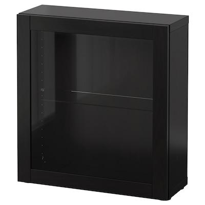 BESTÅ Polcos elem+üvegajtó, fekete-barna/Sindvik fekete-barna üveg, 60x22x64 cm