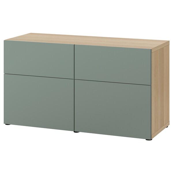 BESTÅ tárolókomb.ajtókkal/fiókokkal fehérre pácolt tölgy hatás/Notviken szürke-zöld 120 cm 42 cm 65 cm