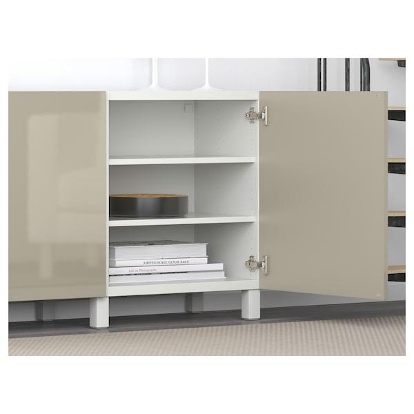 BESTÅ Tár kmb+ajtk, fehér/Selsviken magasfényű bézs, 180x40x74 cm