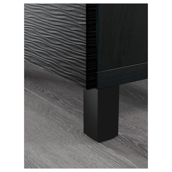 BESTÅ Tár kmb+fiókok, Laxviken fekete/Selsviken magasfényű/fekete, 180x40x74 cm
