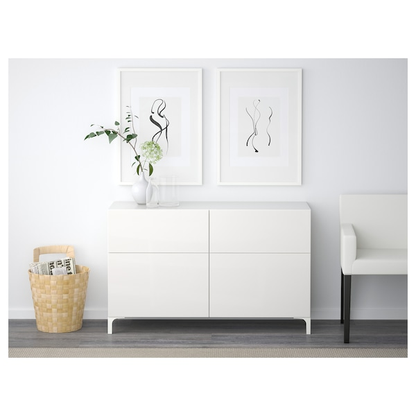 BESTÅ Tárolókomb.ajtókkal/fiókokkal, fehér/Selsviken mfényű feh., 120x40x74 cm